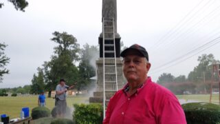 Donald Archer in front of the Confederate Monument