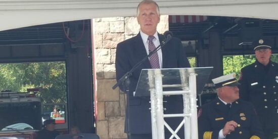 Tillis at the 9/11 Monument in 2016