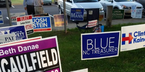 More than 100 political signs outside of Town Hall