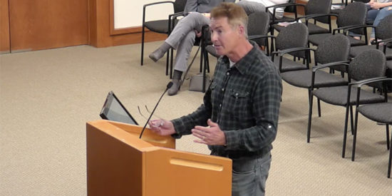 Dave Gilroy comments at a Town Board meeting in 2020