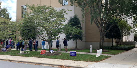 Early voters at Cornelius Town Hall on Oct. 16