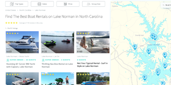 A screen shot of the GetMyBoat site for Lake Norman